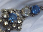 Edwardian Filigree Panel Bracelet set with Blue and White Crystals (SOLD)